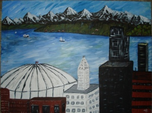 Seattle with the dome - Acrylic on Canvas
